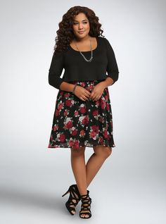 Floral Cropped Skater Dress $64.50 (Would also be cute with leggings and boots!)