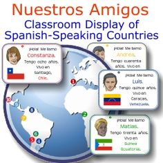 Nuestros Amigos classroom display of #Spanish-speaking countries of the world -- only $1.80 on TpT!