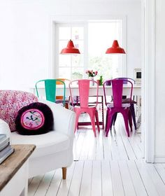 white walls and floors with various color
