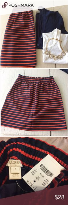 J Crew Mini Skirt Red and navy stripe skirt with elastic waistband. J. Crew Factory.  >Condition: New  🚫 No Trades ✅ Discounted Bundles ✅ Reasonable Offers J. Crew Skirts Mini