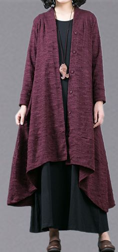 038abbe9aea10 Elegant purple Jacquard maxi coat trendy plus size baggy large hem  asymmetrical design trench coat top quality patchwork Coat
