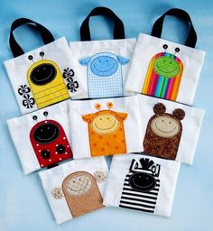 Sewing Pattern - Mini Tote Bags with Critter Appliques - Ladybug, Beetle, Bumble Bee, Monkey, Sheep, Bear, Giraffe and Zebra - PDF ePattern, via Etsy.
