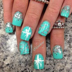 Tiffany Blue Nails With Silver Glitter. Gorgeous!