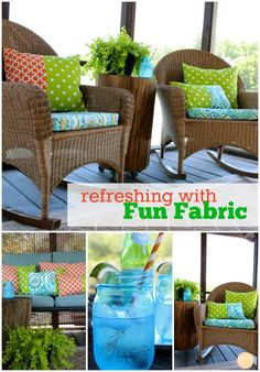 Outdoor Living - Refreshing Fabric on #porch Furniture for #summer via Refresh Restyle