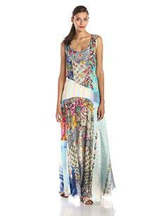 Johnny Was Womens Summer Patchwork Maxi Dress