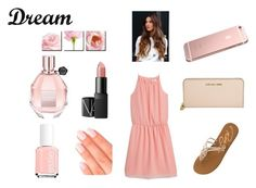 """""""Pink Dreams"""" by lovely-naledi on Polyvore featuring MANGO, Roxy, Viktor & Rolf, Elegant Touch, Essie, NARS Cosmetics, Michael Kors and Dot & Bo"""