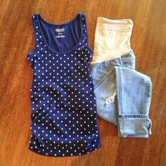 Maternity Tank Old Navy fitted maternity tank. Scoop neck, shirred sides. Navy blue with white polka dots. 58% cotton, 38% polyester, 4% spandex. Old Navy Tops Tank Tops