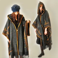 Plus Size kleding MADE TO ORDER Dark Gray handgeweven Poncho
