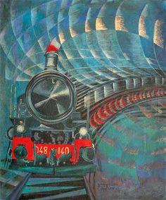 Galerie D'art Moderne, Art Steampunk, Italian Futurism, Futurism Art, Train Art, Art Deco Buildings, Art Deco Posters, Italian Painters, Gcse Art