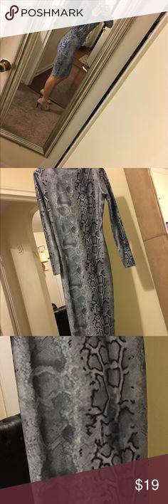 Long sleeve pencil dress knee length dress Snake skin design  sleeve pencil dress knee length dress. High neck- worn once Dresses Long Sleeve