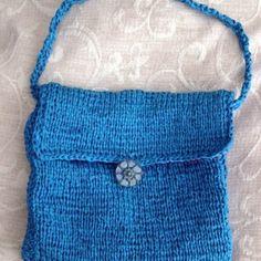 Ceramic Blue Ribbon: Hand Knitted Handbag with Handmade ceramic button £14.00