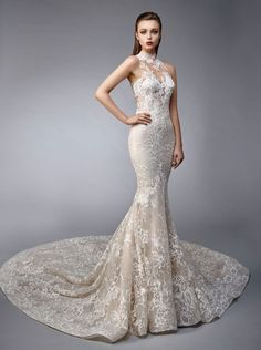 Norine is a full-length mermaid gown made with delicate beaded, embroidered, all-over lace. An illusion halter over sweetheart neckline on the unlined bodice adds an ex . Big Wedding Dresses, Wedding Dress Trends, Elegant Wedding Dress, Wedding Attire, Formal Dresses, Wedding Blog, Bridal Corner, Mermaid Gown, Bride Look