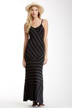 Velvet Torch Stripe Spaghetti Strap Maxi Dress