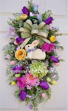 wreath.quenalbertini: Easter Floral Swag Wreath by Timeless Floral Creations