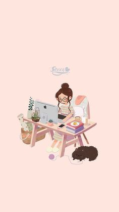 Illustration by Senny Art And Illustration, Illustrations, Cartoon Cartoon, Cartoon Kunst, Kawaii Wallpaper, Girl Wallpaper, Wallpaper Ideas, Cute Wallpaper For Girls, Drawing Wallpaper