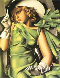 Tamara de Lempicka:  Girl In Green With Gloves, is probably Lempicka's most famous painting and clearly epitomizes her style.
