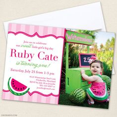 Watermelon party  Set of 15 custom photo invitations  by Chickabug, $30.00