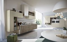 Lacquered linear wooden kitchen OLD AMERICA by Pedini