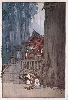 hanga gallery . . . torii gallery: Misty Day in Nikko by Hiroshi Yoshida