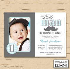 Little Man Birthday Party Photo Invitation by JannaSalakDesigns