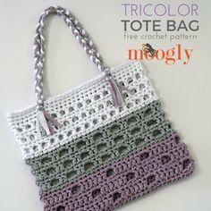 Tricolor Tote - free crochet pattern on Mooglyblog.com!