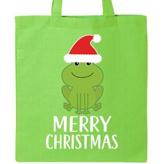 INKtastic Merry Christmas Frog Lover Santa Tote Bag Greeting Funny Holiday Gift for sale online Christmas Gifts For Friends, Christmas Elf, Holiday Gifts, Cute Gifts, Funny Gifts, Santa Claus Hat, Music Gifts, Tote Bag, Lime