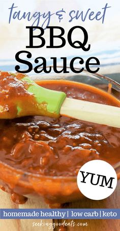 A tasty tangy and sweet BBQ sauce recipe that so good you'll be eating it from the spoon! Can be made two ways: sugar-free or regular - both are GOOD (and no one can tell the difference)! This barbecue sauce is perfect on grilled chicken, pork, Low Carb Dinner Recipes, Healthy Recipes, Low Carb Desserts, Ketogenic Recipes, Keto Dinner, Sauce Recipes, Pork Recipes, Crockpot Recipes, Chicken Recipes