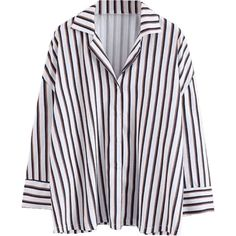 Loose Button Up Striped Shirt (395 CZK) ❤ liked on Polyvore featuring tops, blouses, shirts, button up shirts, loose fitting shirts, striped top, loose fit blouse and striped blouse