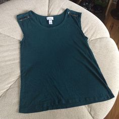 Dark Teal Loft Tank This tank top is beaded and wide at the shoulders. This tank top would look fab with lighter wash boyfriend jeans and a metal statement necklace. LOFT Tops Tank Tops