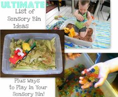 Tons of sensory bin ideas for babies to big kids. Plus fantastic ways to engage your kids during play in the bin and ways to combat tactile defensiveness. I love doing sensory bins! Sensory Tubs, Sensory Boxes, Sensory Diet, Sensory Activities, Sensory Play, Learning Activities, Preschool Activities, Kindergarten Sensory, Baby Sensory
