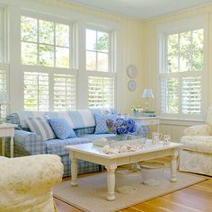 cottage-living-room-corner - Home Decorating Trends - Homedit Cottage Living Rooms, Coastal Living Rooms, Living Room Furniture, Living Room Decor, Yellow Walls Living Room, Modern Furniture, Yellow Rooms, Blue Furniture, Cozy Living