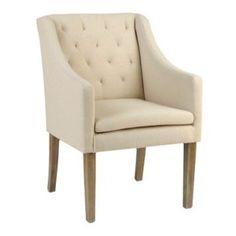 Oatmeal Linen Tufted Arm Chair   Kirklands