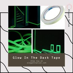🌟GLOW IN THE DARK TAPE🌟 This luminous self-adhesive Glow In The Dark Tape is very useful to mark areas for safety as well as decorating specific areas in your house. Adhesive, Tape, Safety, Glow, Self, Decorating, Random, Prints, House