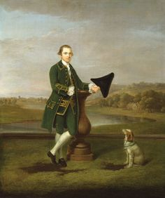 """""""Portrait of a Man"""" by Arthur Devis (1763) at the Art Institute of Chicago, Chicago - In 18th century Britain, land ownership was the primary source of wealth - and having a large country estate was a major means of showing it.  This differed from the French nobility where having a large house in Paris (a hôtel) or an apartment in the Château of Versailles was the main indicator of wealth and status."""