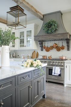Kitchen Remodel Ideas Farmhouse Kitchen with Fall Decor-Center Island Design-Lantern Pendant Lights-White Kitchen-Glass Kitchen Cabinets-Copper Pots-Dark Center Island-Restoration Hardware Paint French Country Kitchens, Modern Farmhouse Kitchens, Home Kitchens, Small Kitchens, Country Kitchen Ideas Farmhouse Style, Dream Kitchens, French Country Interiors, French Country Homes, Country Modern Decor