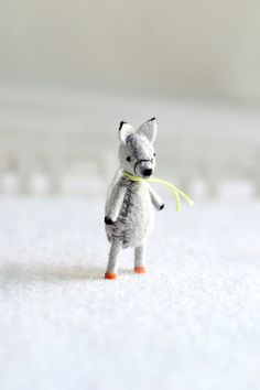 grey wolf  miniautre felt woodland wolf by by MountRoyalMint, $28.00