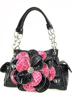 Stunning! 3d Raised Flower Croc Satchel Purse Laminated Croco Faux Crocodile Black/Hot Pink scarlettsbags,http://www.amazon.com/dp/B005SQY53Y/ref=cm_sw_r_pi_dp_IAqnrb09CQW6665R