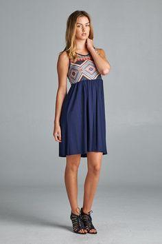 Printed Navy Knee Length Dress