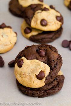 Soft-Baked Peanut Butter Chocolate Swirl Cookies by sallysbakingaddiction.com