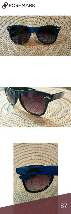 Panama Jack Sunglasses - Cute/ Fun Mustache sunglasses (Worn twice) - Black plastic frame with small mustaches on edge, with dark blue sides that have a back mustache on each side as well. (REFER TO PHOTO) - Shade are purple hued, and has a very small scratch on lense, nothing noticeable, nor vision impairing. - Frames are very sturdy and durable! ** CAN BE FOR MEN OR WOMEN ** Panama Jack  Accessories Sunglasses
