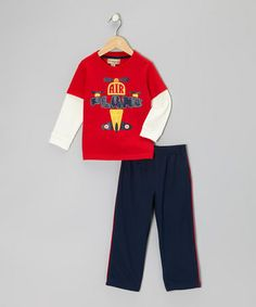 Take a look at this Red 'Airplane' Tee & Pants - Infant, Toddler & Boys by Kids Headquarters on #zulily today!