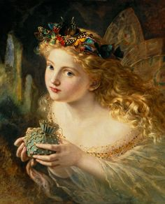 """Pre-Raphaelite Painting:  """"Take The Fair Face Of Woman..."""" by Sophie Gengembre Anderson (French, 1823 - 1903).  The full title of this painting is """"Take The Fair Face Of Woman, And Gently Suspending, With Butterflies, Flowers, And Jewels Attending, Thus Your Fairy Is Made Of Most Beautiful Things.""""  ---Charles Ede. #Pre-Raphaelite."""