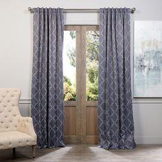 Exclusive Fabrics Seville Print Blackout Curtain Panel Pair (Navy 84L), Blue, Size 50 x 84 (Polyester, Geometric)