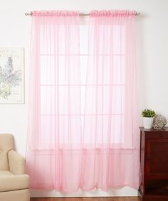 J&V TEXTILES 4-Pack Value: Solid Sheer Window Curtain Panels (Pink)