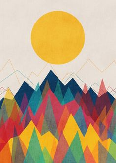 Available for purchase Uphill Battle Colors Rainbow Pop Minimalist Modern Shapes Sun Sunrise Sunset Mountains Lines Triangles Circle Abstract