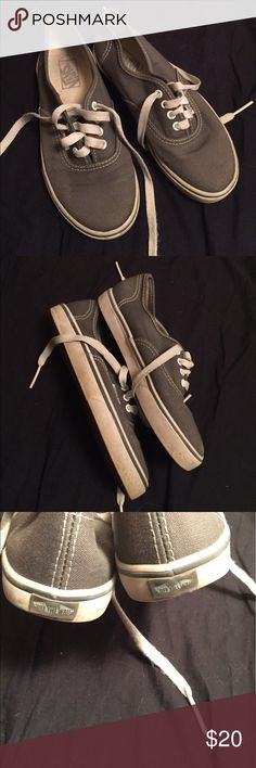 Grey Vans-youth These shoes are in great, used condition. They have some discoloration on the white rubber and some wear on the vans logo on the back of the shoes. The soles, insoles, canvas, and laces are in excellent condition. Vans Shoes Sneakers