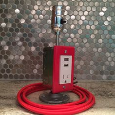 Red Industrial table or bedside lamp with USB by FlyMarket on Etsy