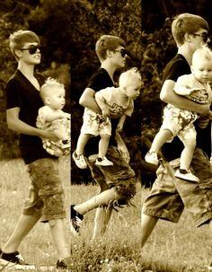 <3 the way he carried Jaxon... Haha(: