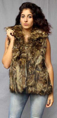 vintage 60s 70s RACCOON fur VEST rocker BIKER by socalvintage