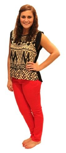 Fun and adorable top with red skinny jeans! - Studio 3:19